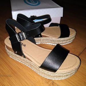 SODA Clip Open Toe Espadrille Sandal Wedge